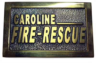 firefighter buckle made for Caroline County Virginia