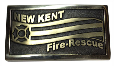 custom firefighter buckle made for New Kent County, VA